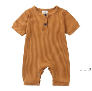 Kids Designer Clothes Baby Solid Sleeveless Rompers Boys Summer Cotton Breathable Jumpsuits Onesies Infant Casual Button Bodysuit EWC6403