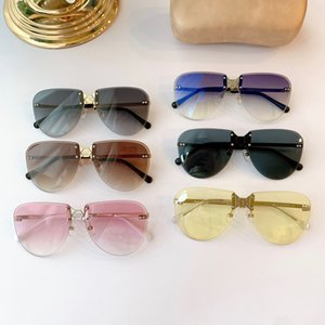 Famous Designer Sunglasses Ladies Brand Polygonal Rimless Glasses Gradient Ocean Square Luxury High Quality Metal Glasses
