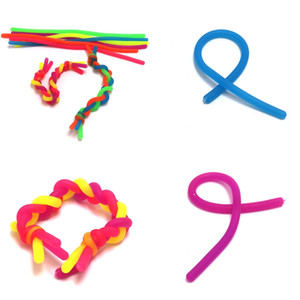 Fidget Decompression Rope Noodle Ropes Toys sensoriais para crianças adultos Fidget Abreact Cordas flexíveis Cordas Stretchy String Neon Slings H22202