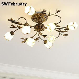 American Ceiling Lamp Nordic Retro Iron Flower Lamps Dining Room Living Room Lights Bedroom Table Lamps