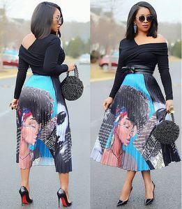 Sommer Frauen gefaltete Rock Cartoon Mode druckte Plissee Röcke Bottoms elastisch losen Rock Nachtclub Designer Röcke Kleidung S-3XL Geschenk