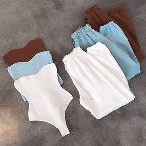 Women's Two Piece Pants Slash Neck Knitted Playsuit Romper With Trousers Sets Women 2021 Streetwear Sweatpants Tracksuit Sweatshirt