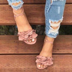 Sandalias de la correa de verano Mujeres de color sólido volantes con punta redonda tacón plano cruzado sandalias atadas Zapatos de Roma zapatos rojos C7sc #