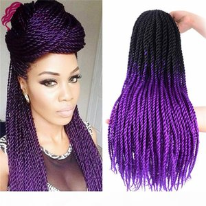 Ombre Senegalese Twist Crochet Hair 24inch 5pcs Fiber Senegalese Twist Hair Ombre Braiding Hair Extensions (Black purple) SASSY GIRL