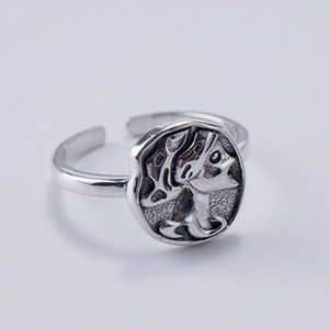 2021 New Real Pure S925 Sier Jewelry Retro Embossed Queen Opening Female Fashionable and Simple Design Woman Ring Bbhf