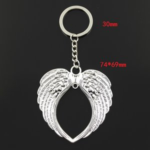 Fashion 30mm Key Ring Metal Key Chain Keychain Jewelry Antique Bronze Silver Color Plated Angel Wings 74x69mm Pendant