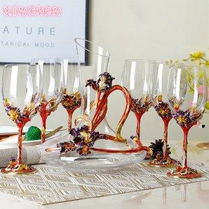Xinchen Email Farbe Iris bleifreie Kristall Weinglas Set Kreative Becher Hochzeit Weingläser für Liebe Hochzeitsgeschenk L0308