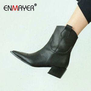 Enmayer 2020 Genuine Pelle Pelle punta in pelle stivali da donna Moda Stivali invernali Basic Spike Tacco Spike Cascino per le donne zip Q0E2 #