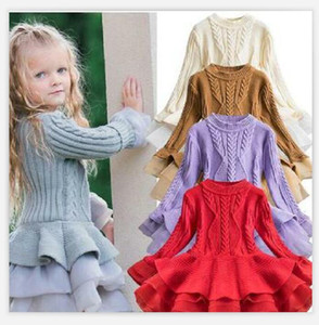 Knitted Princess Dress Girl Candy Color Dresses Long Sleeve Long Skirt Cute Pure Color Bubble Skirt WY231 ZWL