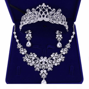 Luxury Cubic Zirconia Tiara and Necklace Earring for Women Wedding Jewelry Set for Bride Zircon Crowns Jewelry Bridal Accessories