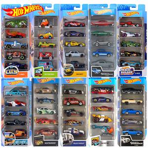 Ruedas calientes originales Diecast 5pcs Sports Car Track Set 1:64 Metal Car Toy Hotwheels Mini Boy Juguetes para niños Modelo Coche Oyuncak 210226