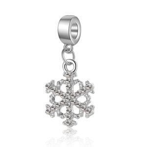 Fits Pandora Bracelets 20pcs Winter Snowflake Crystal Dangle Silver Charms Fits pandora Charms Bracelet Beads For Jewelry Making 925 Sterling Silver Charms