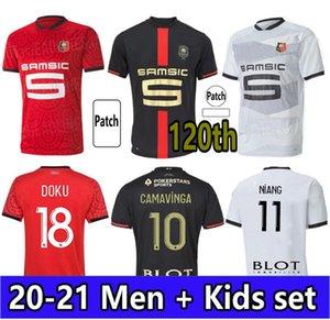 2021 120th Stade Rennais Soccer Jerseys Camavinga Terrier Mailleots De Foot Rennes Men Kids Set Bourigeaud Niang Hunou Football Commet