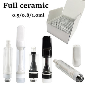 Wholesale Full Ceramic Vape Cartridges 0.8ml Carts White Tips Disposable Vapes Press Snap Empty TH205 Coil Thick Oil E Cigarettes Packaging