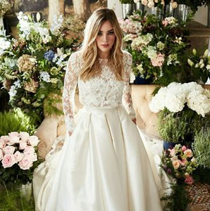 Two Pieces Country Wedding Dresses Long Sleeve Floral Lace Top With Satin Skirt A-Line High Low Bridal Gowns 2021 Garden Vestido De Noiva