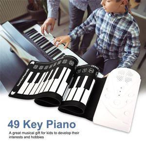 Portable 49-key Folding Electronic Piano Flexible Hand Roll Keyboard for Children Beginner