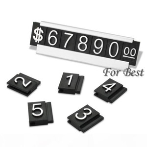Wholesale-Silver 30 Sets Free Shipping Jewelry Price Display Label Tag Adjustable Number Counter Cube Dollar Sign With Base Stand