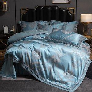 Роскошный мягкий шелковистый атласный жаккардовый хлопок постельное белье набор 4 шт. Queen King Size Размер Утешитель Утешитель Крышка Крышка Кроватей и 2 Главная