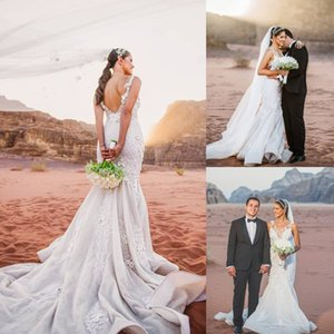Amazing Mermaid Lace Backless Wedding Dresses Beaded Bateau Neck Appliqued Bridal Gowns Sweep Train robe de mariée