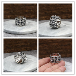925 sterling silver vintage handmade crosses thick band rings with stones American Euro punk gothic designer antique silver luxury jewelry