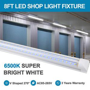 8FT LED Shop Light Tube Baskture, 72 Вт встроенный светодиодный двухсторонний V Форма 270 градусов освещения светодиодных лампочек