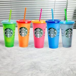Starbucks 24 oz / 710 ml Plastik Tumbler Kullanımlık Temizle İçme Düz Alt Kupası Sütun Şekli Kapak Saman Kupa Bardian Ücretsiz Kargo