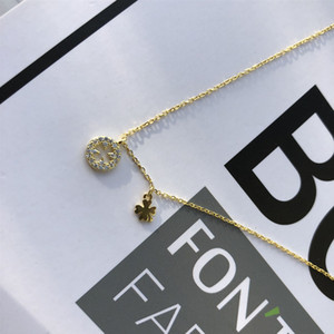 Net red jewelry Korean 925 silver clover pendant hip hop simple necklace female clavicle chain