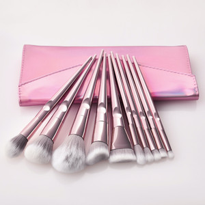 10 Pcs bag Makeup Brushes Tool Set Cosmetic Powder Eye Shadow Foundation Blush Blending Beauty Make Up Brush with bag J003
