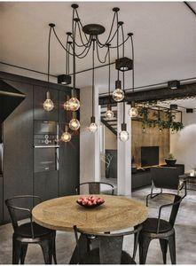 Lâmpada de pingente de aranha vintage preto pendurado lustre lustre ajustável lâmpada retro cabeça clássico lâmpada de teto luminária luz 706 K2