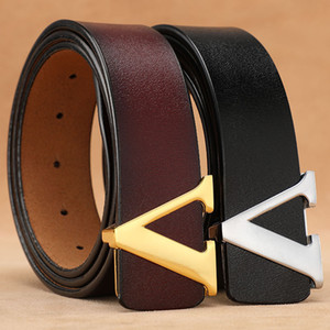 High Quality Retro Waist Designer Genuine Leather Alloy v Buckle Male Women Casual Jeans Belts 3.8cm Mens Belt