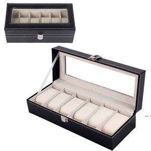 Storage Holder Grid PU Leather Watch Storage Box Rectangle Wristwatch Holder Jewelry Display Case For Gifts HWA3928
