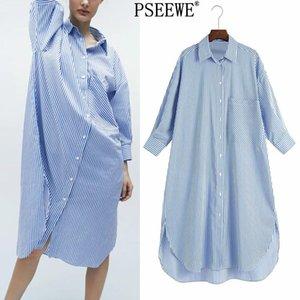 Vestido de primavera Pseewe 2021 Vestido de camisa de extragrandes a rayas azul Botón para mujer Vestidos largos Mujeres Casual bolsillo Vestidos