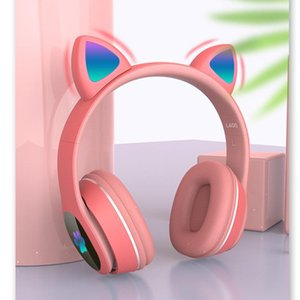 Bluetooth Headphone Headsets V5.0 Flashing Wireless Earbuds Foldable Game Stereo Kids Earphone with Microphone Cute Cat Ear