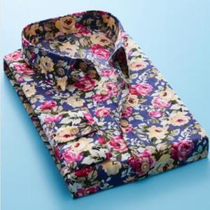 2020 100% Cotton Floral Print Men Shirts Long Sleeve Mens Casual Shirt Slim Men Flower Printing Dress Shirts camisa masculina