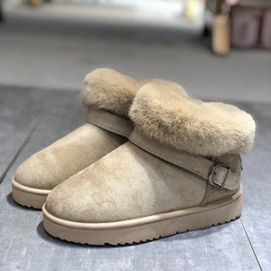 2019 Winter Cross Border Snow Boots Womens New Thickened Plush Buckle Cotton Shoes Wool Belt Buckle Warm Boots Wedges Shoes Designer S L0iN#