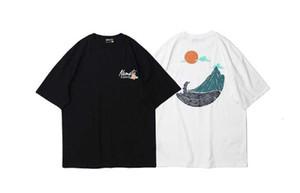 Mens Harajuku Japanese Style Mountain Print Short Sleeve Tees Shirts Hip Hop Casual Streetwear Male Fashion Summer Tops