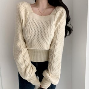 French Zhixun girl's long blouse winter twist new style square neck bubble sleeve sweater waist