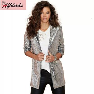 Women's Jackets Sequined Jacket Female 2021 Spring And Autumn Korean Casual Long Sleeve Solid Color Notched Collar Cardigan Outerwear