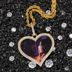 Custom Photos Necklace Fashion Gold Plated Memory Iced Out Heart Pendant Necklace Mens Hip Hop Necklaces Jewelry