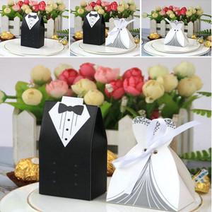 50 unids estilo europeo caja de dulces novia y novio Doble traje de banda de boda caja de boda suministros de boda