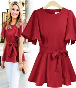 European and American new style hot-selling plus size women's spring and summer new product belted shirt XL--5XL