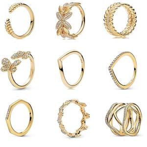 100% 925 Sterling Silver 2019 Otoño Vista previa brillo anillo multifacético Tiara Tiara Anillo de Wishbone Ring Clear Sparkling Crown Ring 39 R2
