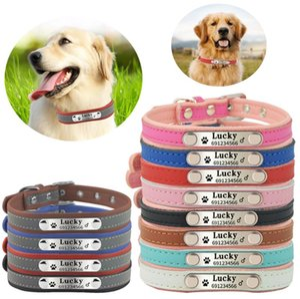 Köpek Tasmaları Tasmalar Adı Yansıtıcı Stil Yumuşak Deri Pet Kişiselleştirilmiş Oyulmuş ve Telefon Numarası