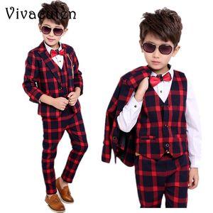 Flower Boys Formal Suits for Weddings Kids Plaid Blazer Vest Pants 3pcs Outfits Kids Gentleman Party Tuxedo Clothing Sets F019 T200820