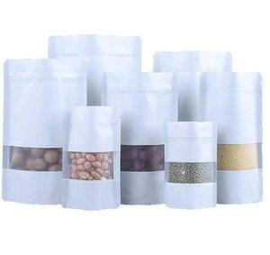 9 사이즈 화이트 스탠드 서리 낀 창 플라스틱 파우치 지퍼 리 클로스 가능한 식품 저장 포장 가방