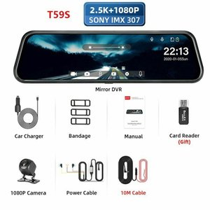10m Z03 2.5K 128G Card Car DVR Touch Screen Stream Media Dual Lens Rearview Mirror Dashboard Camera
