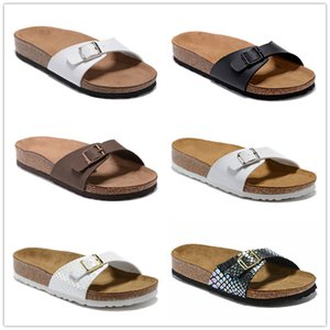 Madrid 2021 Newest Cork Slippers fashion Authentic slide Floral brocade Rubber mens slippers Gear bottoms striped woven Beach causal Sandal