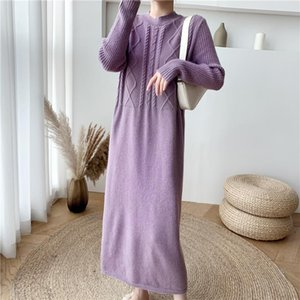 Femmes chaudes Pull Robes Blanc À Manches longues O Cou Casual Casual Robe tricotée en vrac Hiver Hiver Lady Lady Longue Robe