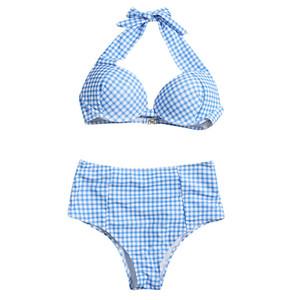 Drop Ship Classic Plaid Push Up Bikini Set per le donne Vintage Style Halter Pad Costumi da bagno Swimwear Beachwear femminile Blu Swimsuit Y0220