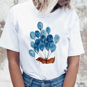 Harajuku Sausage dogs and balloons print funny t shirts women clothes 2021 summer ladies tops Short sleeve vogue tshirt feminina